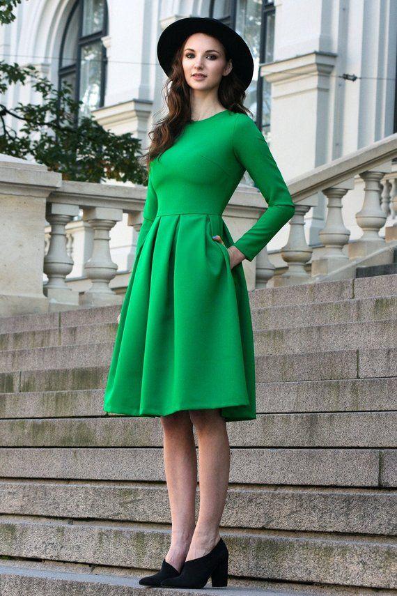 4427c4af70761 Green Dress, Cocktail Dress, Women Midi Dress, Flared Dress, Classic Green  Dress, Long Sleeve Dress,