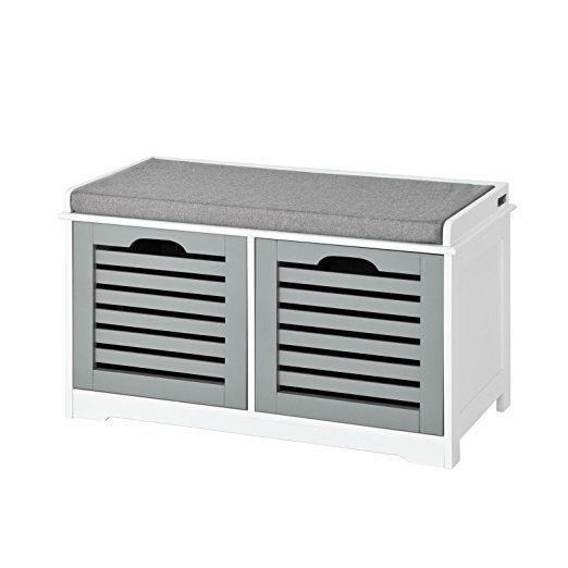 SoBuy® Banco de almacenamiento con cojines y 2 cubos de entrada del ...