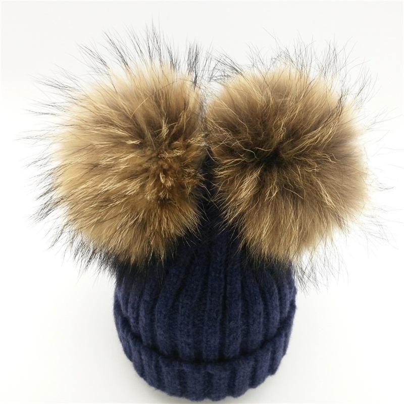 de95c79abe492 Lanxxy Real Mink Fur Pompom Hat Women Winter Caps Knitted Wool Cotton Hats  Two Pom Poms Skullies Beanies Bonnet Girls Female Cap