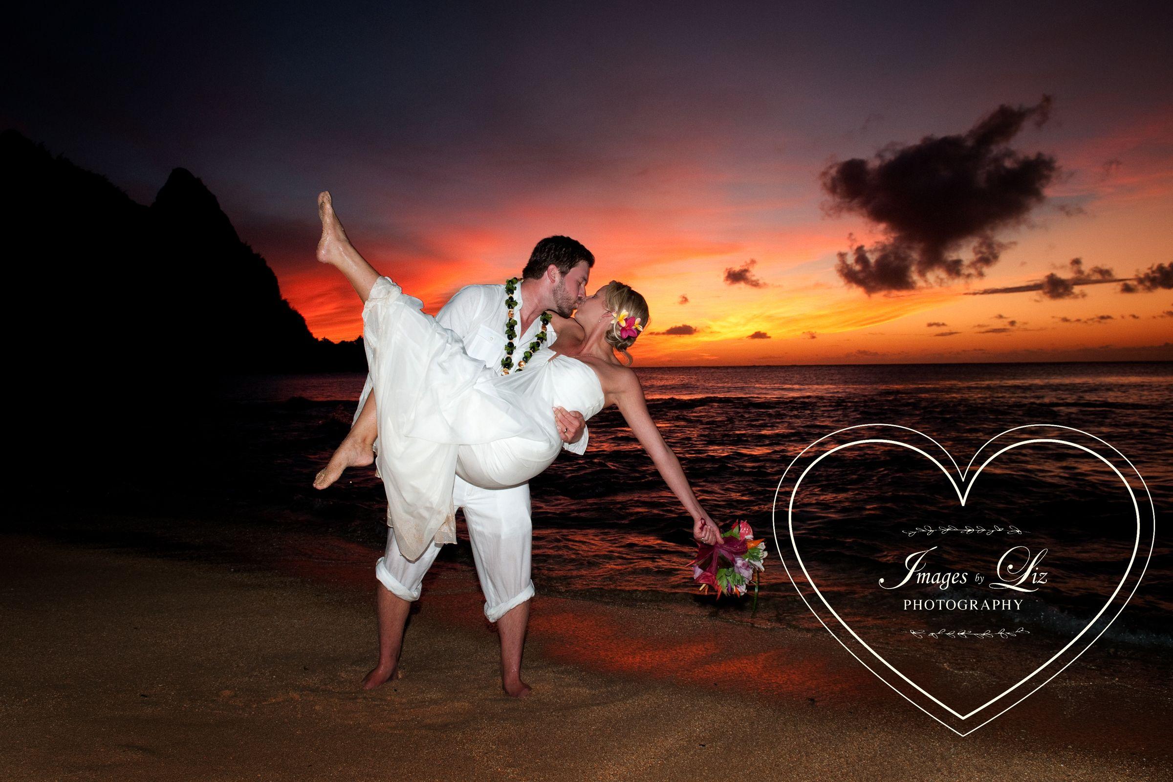 Beautiful Sunset Wedding At Tunnels Beach Kauai Images By