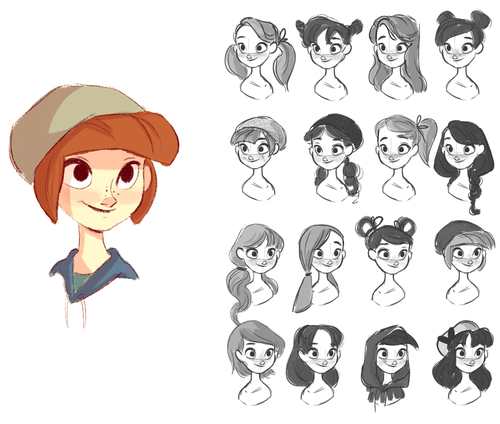 Different Hair Styles Cartoon Character Design Concept Art Characters Illustration Character Design