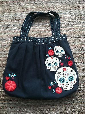 Loungefly Large Black Canvas Sugar Skull Embroidered Bag in Handbags & Purses   eBay