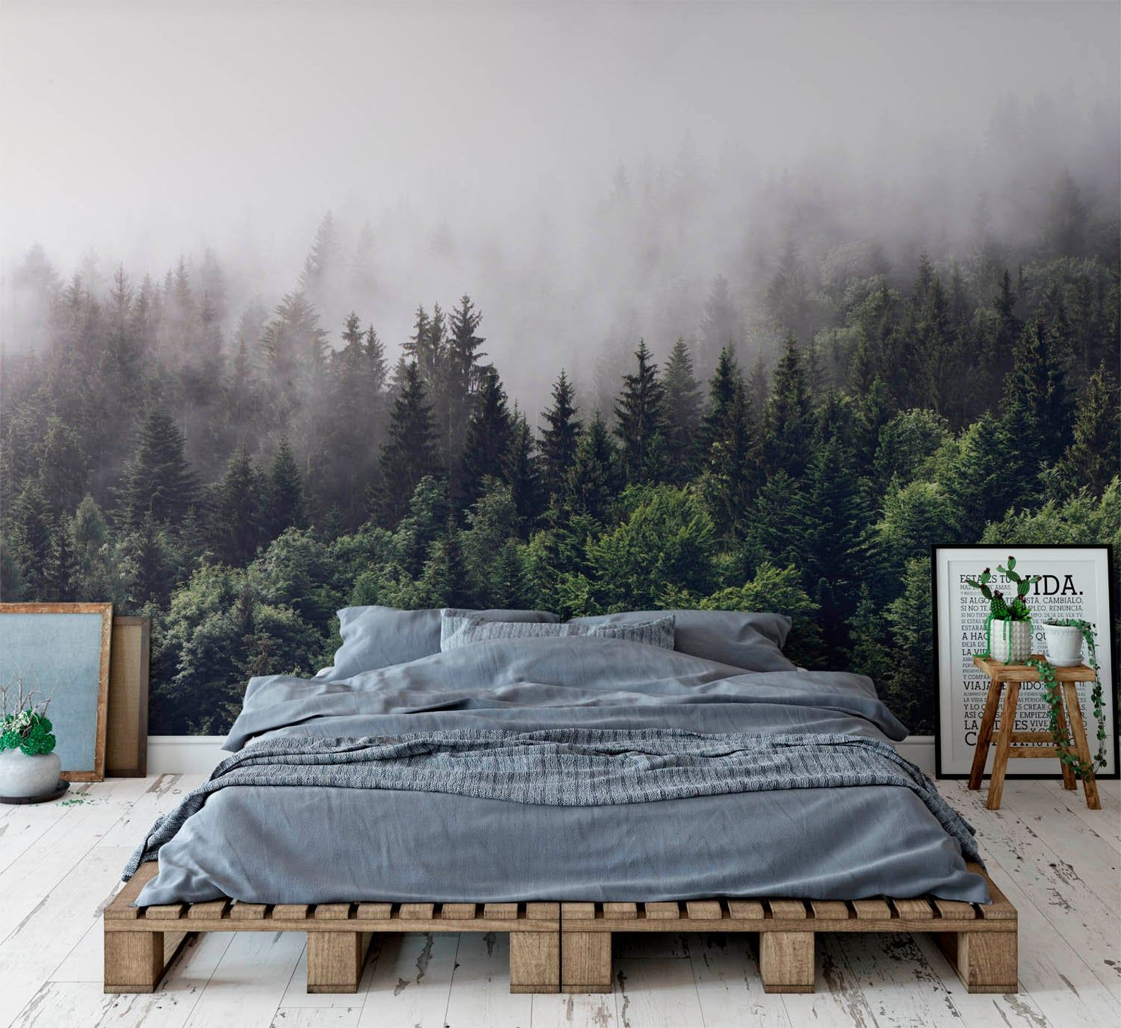 Misty Gray Mountain Removable Wall Fabric Wallpaper Peel