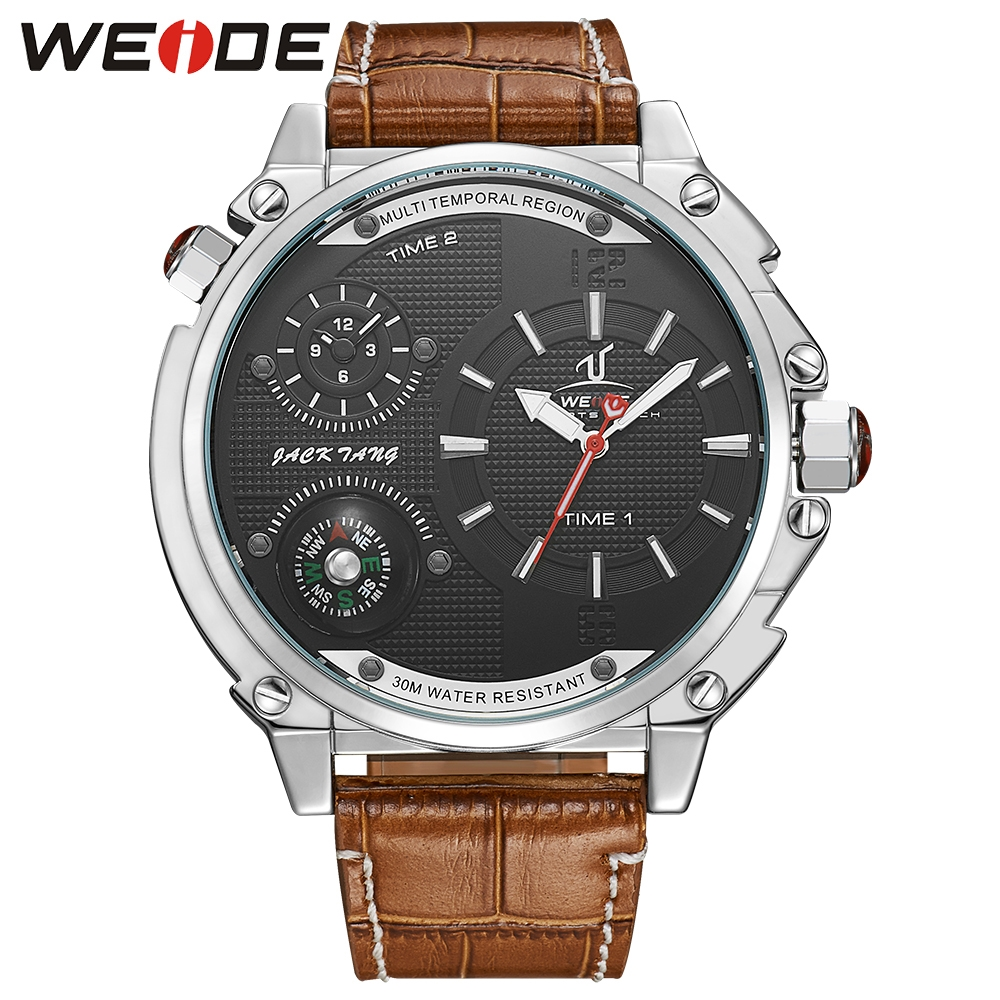 59.86$  Buy here - http://alinsf.worldwells.pw/go.php?t=32699962191 - Newest WEIDE Universe Waterproof Compass Watch Mens Dual Time Zone Analog Display Genuine Leather Strap Military Watches For Men