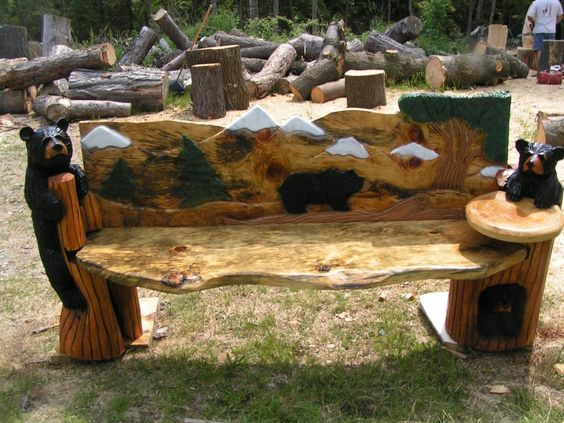 Chainsaw Carved Wood Benches | Custom Chainsaw Carvings Bears: