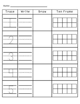 Numbers 1-10 Trace, Write, Draw, and Ten Frames | Ten frame ...