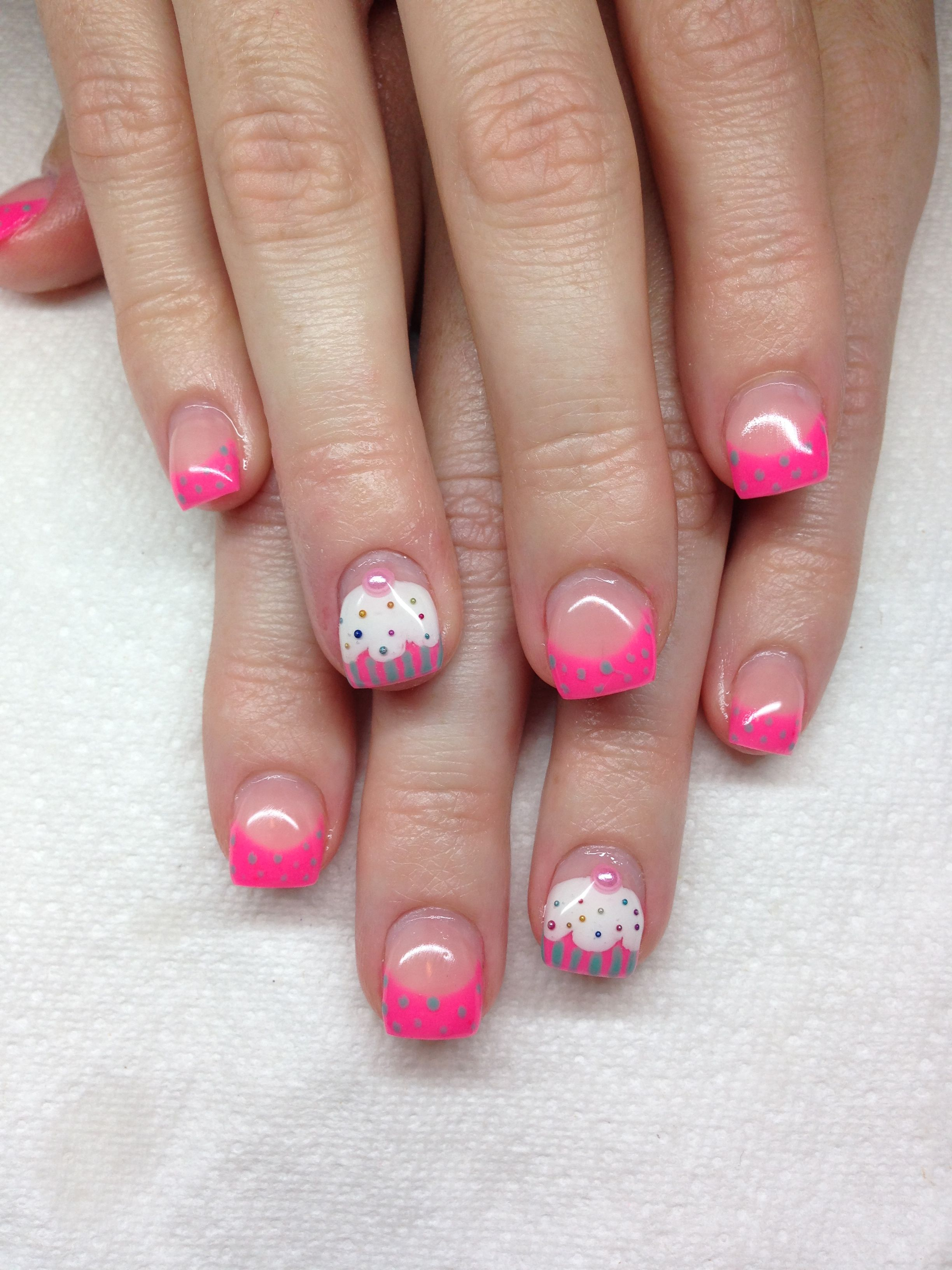 Hot Pink Tips And An Adorable Cupcake Accent Gel Nails With Hand Drawn Design Using Gel By