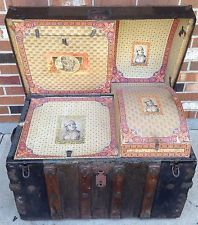 Antique 1800 S Wood Chest Dome Top Victorian Steamer Trunk