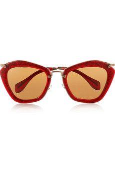 2576a881f9ff Miu Miu Cat eye-frame glitter acetate and metal sunglasses