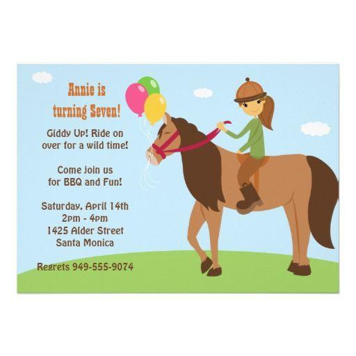 Horse Back Rider Birthday Party Invitation Party invitations