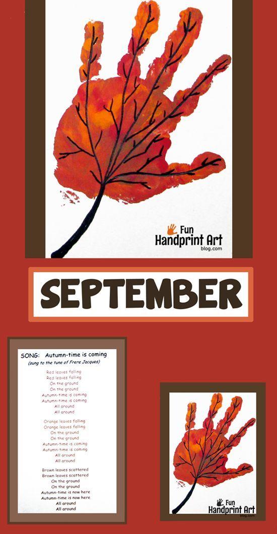 Calendar Art Ideas For Teachers : Handprint leaf for september calendar