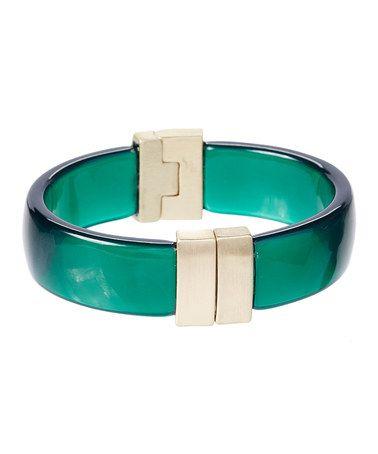 Look what I found on #zulily! Silvertone & Green Dahlia Hinge Bangle #zulilyfinds
