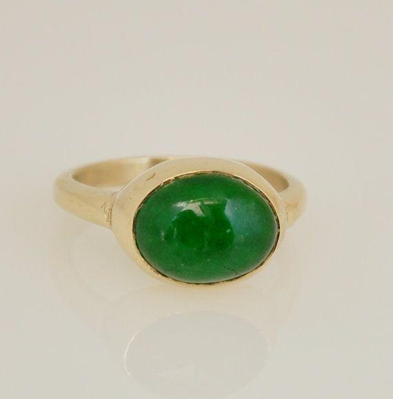 Jade Ring, 14k Gold and Jade Ring, Engagement Ring, Birthstone Ring ...
