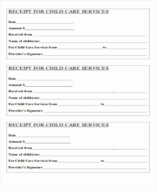 Receipts For Child Care 2 Per Page Kids Daycare Daycare Daycare Printables