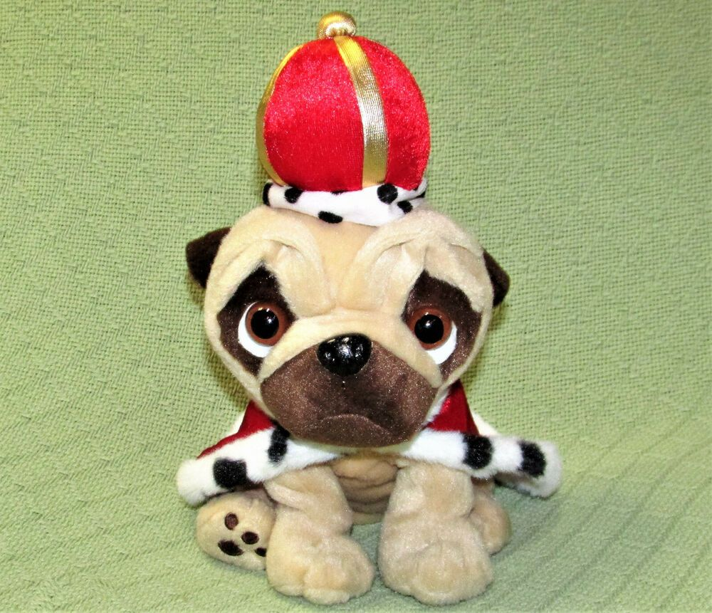 Pugsley The Pug King Puppy Dog Stuffed Animal 11 Plush Red Cape