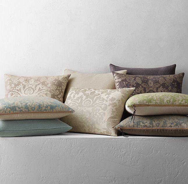 Ratti Hand-Screened Metallic Damask Linen Pillow Cover