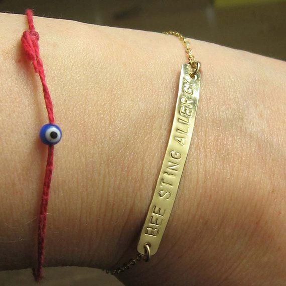 Long Gold Medical Alert Bracelet Jewelry Hand By Nuritspiegel 39 00