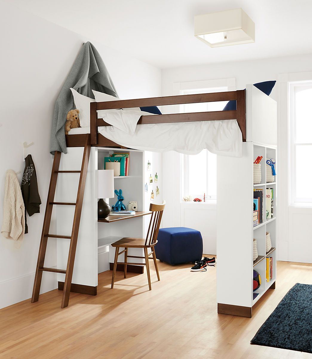 Moda Modern Wood Kids Loft - Moda Loft Beds with Desk and Bookcase