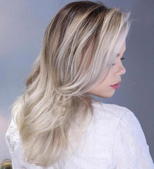 Ash Blonde Ombre Highlights #whiteombrehair #naturalashblonde