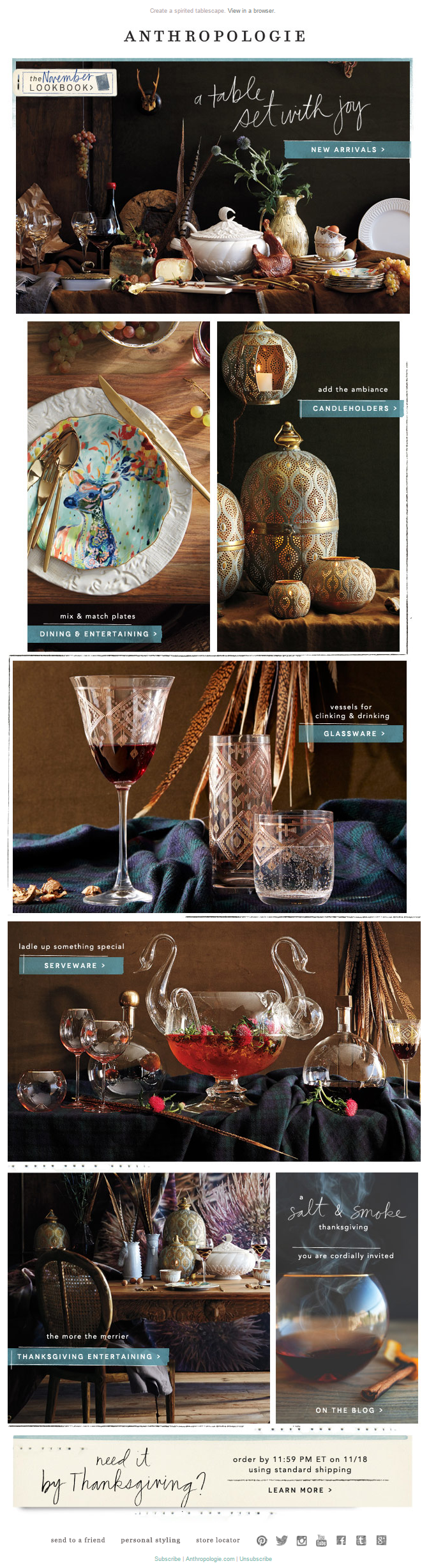 Anthropologie Thanksgiving email 2014