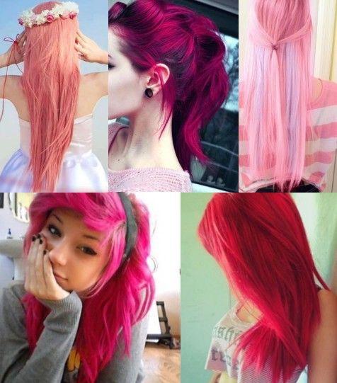 Cabelos lindos com cores pink e rosa claro