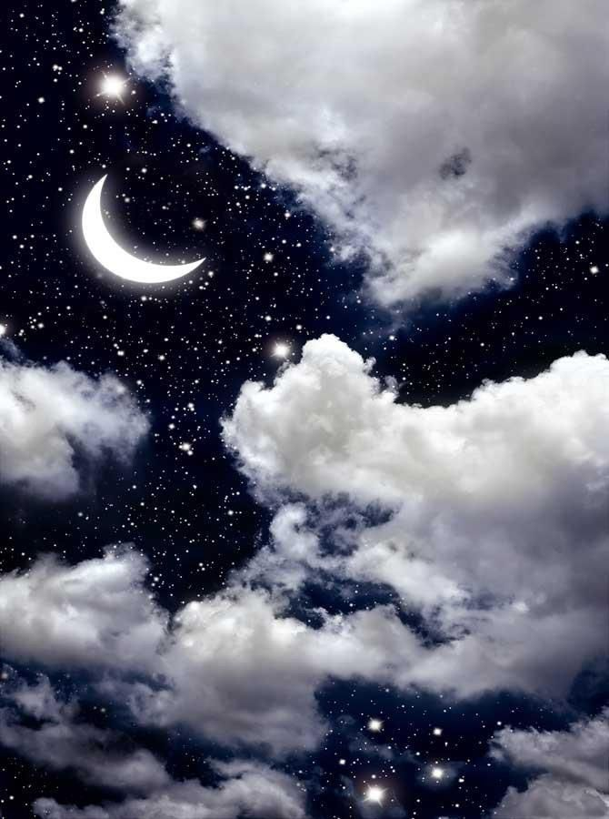 printed Clouds and Moon Backdrop - 1180