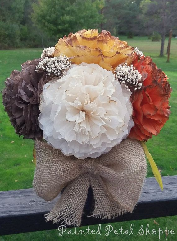 Fall Coffee Filter Flower Arrangement By Paintedpetalshoppe