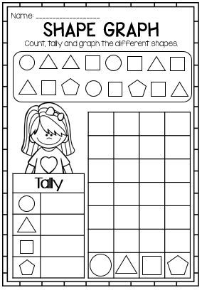 Bar Graph Printable Shapes First Grade Data And Graphs Printable Pack Graphing First Grade Graphing Worksheets First Grade Math Free count and graph worksheets for