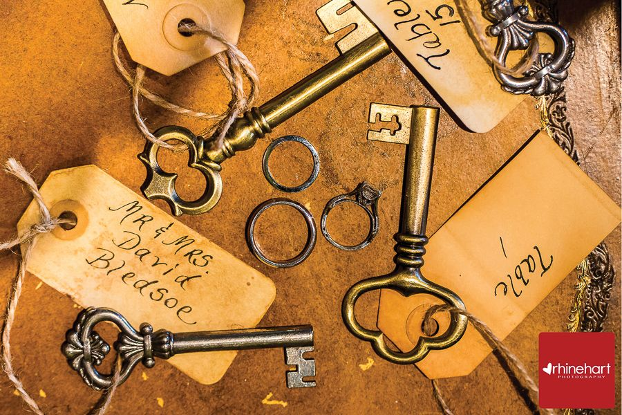 Antique keys with vintage tags as table cards for wedding guests ...