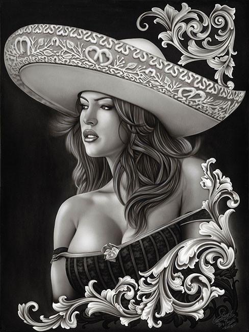04ec30bdc ceeze charra by big ceeze sexy latina woman mexican tattoo giclee art print  sexy-latina