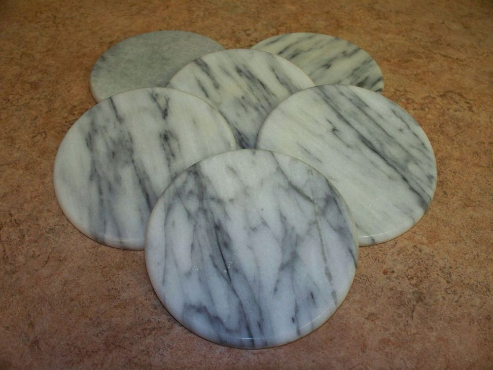 Set of 6 Grey Stone Marble Coasters