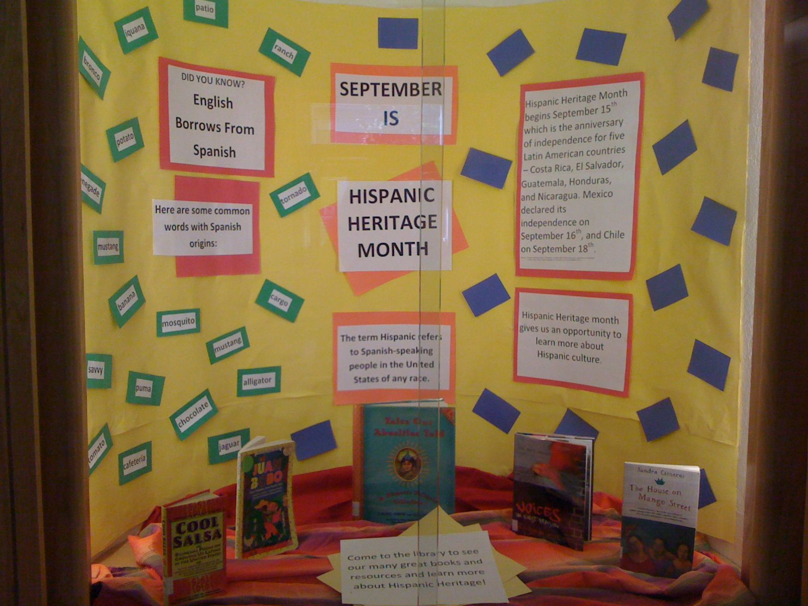 School Library Bulletin Board Ideas An Art Teacher S Bulletin Board Each Grad September Bulletin Boards School Library Bulletin Boards Hispanic History Month