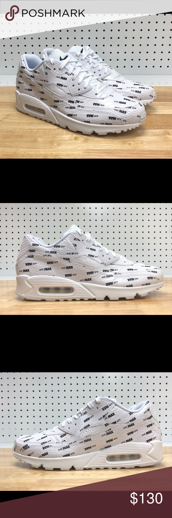 online retailer c0ff5 1c116 Nike Air Max 90 Premium White Classic Black Print Men s Nike Air Max 90 PRM  White