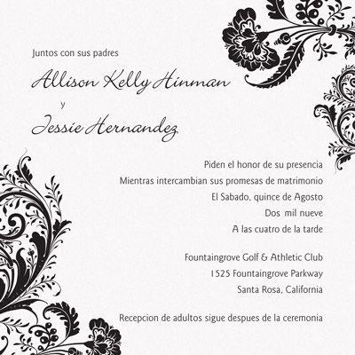 Lace Wedding Theme Wedding Invitation Wording Templates Spanish Wedding Invitations Wedding Reception Invitations