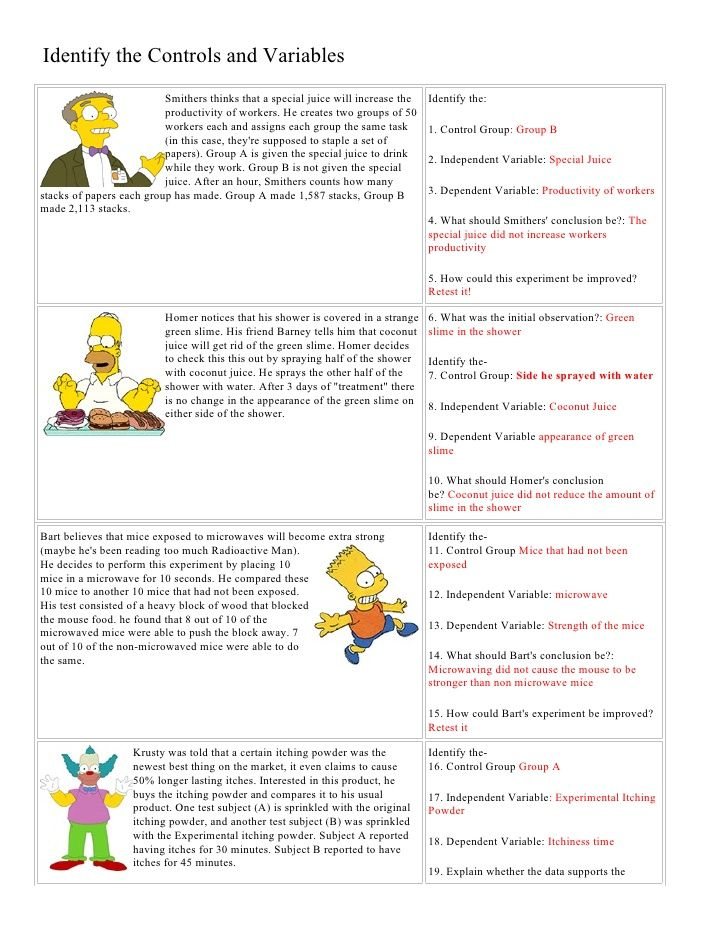 Bart Simpson Controls And Variables With Answers By Jrt004 Via Slideshare Science Worksheets Scientific Method Worksheet Scientific Method