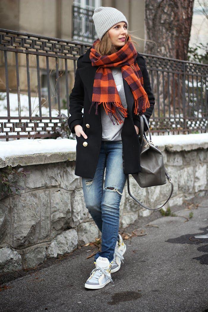 Zara coat, Zara jeans, Adidas Originals sweatshirt, Adidas by Stella McCartney sneakers