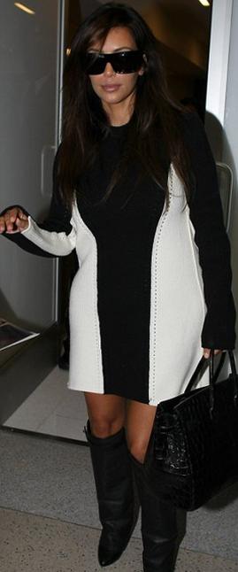 d80656949cd4 Kim Kardashian wearing Hermes 35cm Birkin Bag in Black Croc Givenchy Shark  Lock Fold Over Wedge Boots in Black. Kim Kardashian LAX September 11 2012.