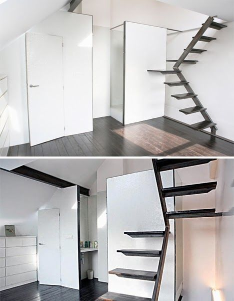 Interior Steps To Saving Space Compact Stair Designs For Lofts Urbanist  Stairs For Loft (468×600)