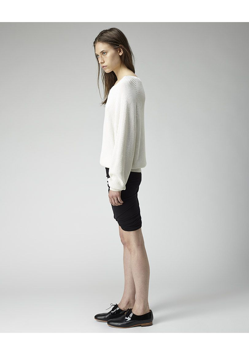 T by Alexander Wang / Ribbed Cotton Pullover | La Garçonne. Ribbed Cotton Pullover by T by Alexander Wang.  Slouchy pullover with long, raglan sleeves in a ribbed knit cotton. Worn with / T by Alexander Wang Twist Jersey Skirt & Dieppa Restrepo Cliff Lace-Up Oxford.
