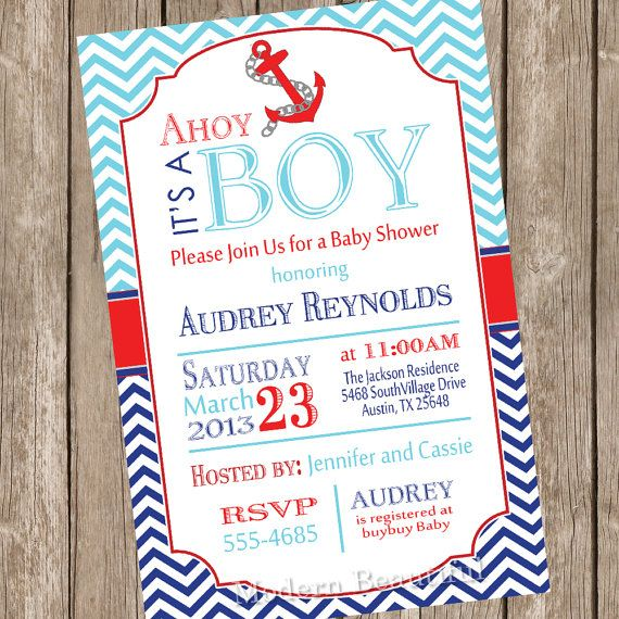 chevron ahoy it's a boy baby shower invitation, blue, red, navy,