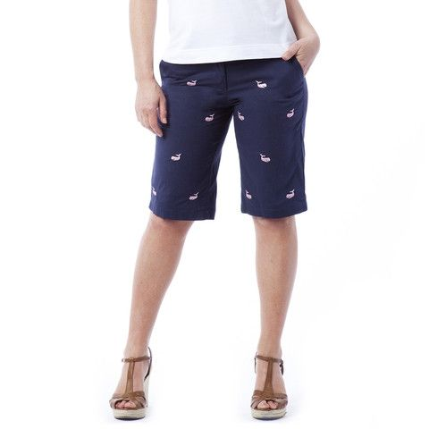 Castaway Clothing Women s Bermuda Shorts Embroidered Nantucket Navy with  Whale. Buy it   ReadyGolf.com 0d8ef5f64