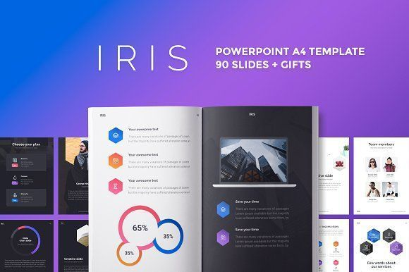A4 IRIS PowerPoint Template by Entersge on @creativemarket - powerpoint proposal template