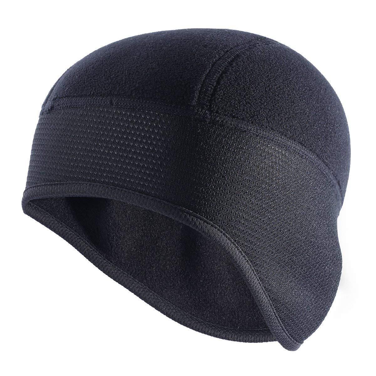 Men Skull Cap Helmet Liner Winter Thermal Fleece Ski Beanie Windproof Hat Black
