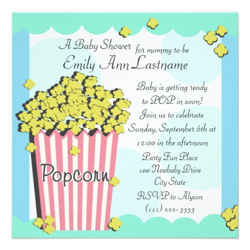Popcorn baby shower invitation babyshower ideas pinterest popcorn baby shower invitation filmwisefo Images