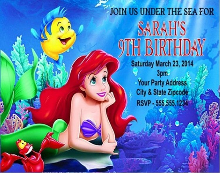 Personalized Little Mermaid Birthday Invitations Invitation Ideas