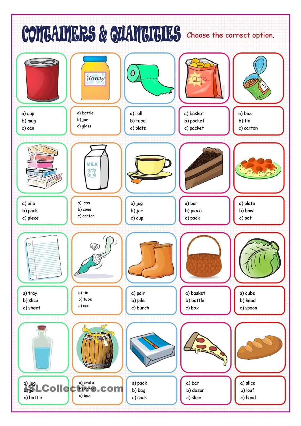 Containers & Quantities Multiple Choice | ESL Grammar | Pinterest ...