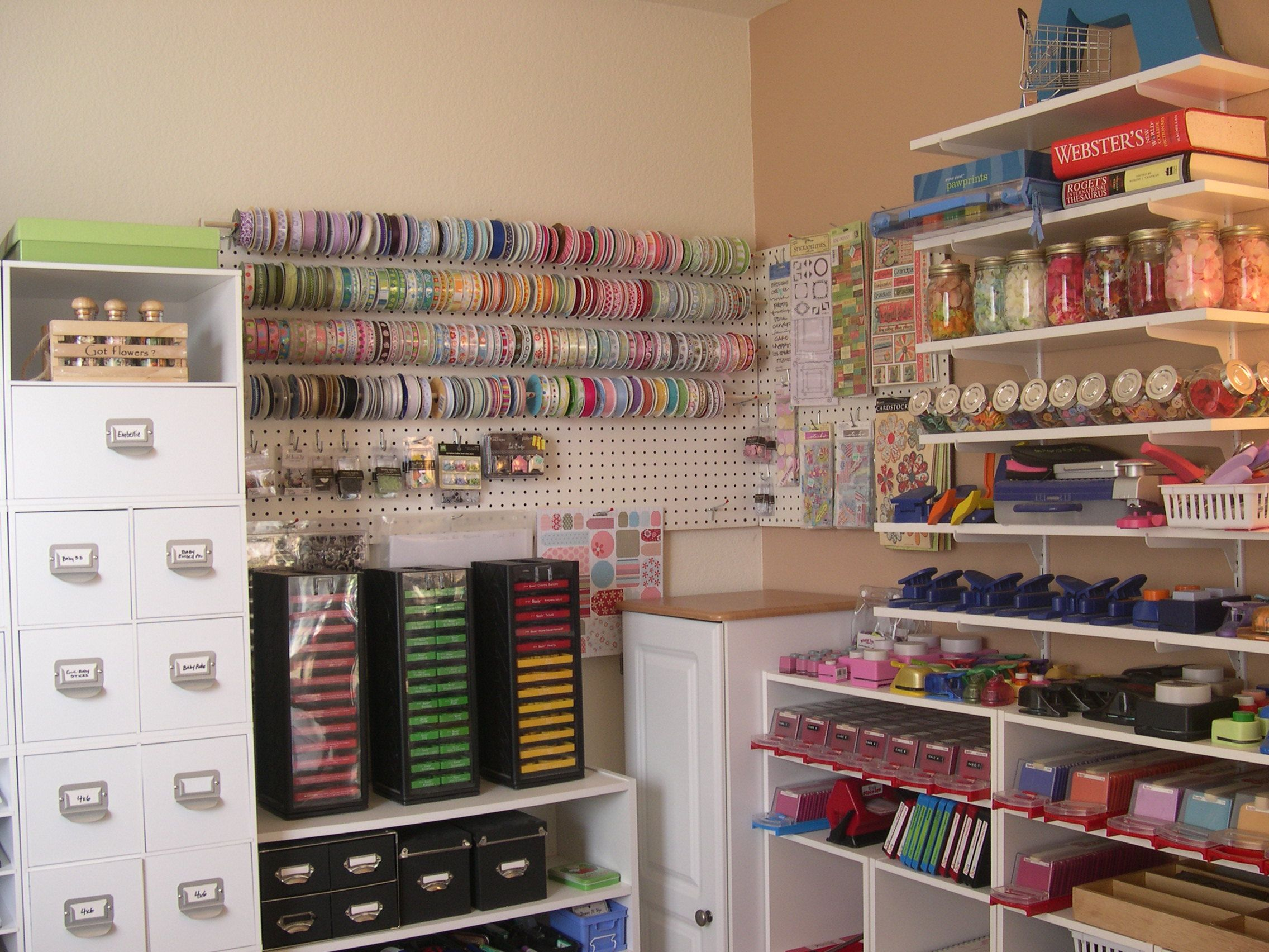 peg board ribbon organizer