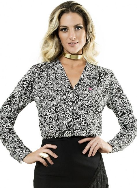 c570aba36 camisa feminina estampada manga longa elisabeth | Camisas Femininas ...