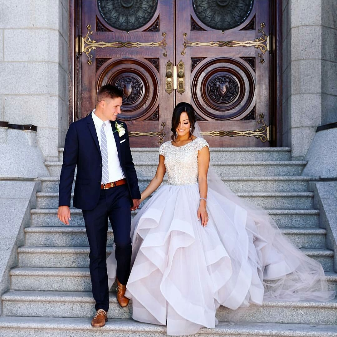 modest wedding dress with cap sleeves and a ballgown skirt from alta ...