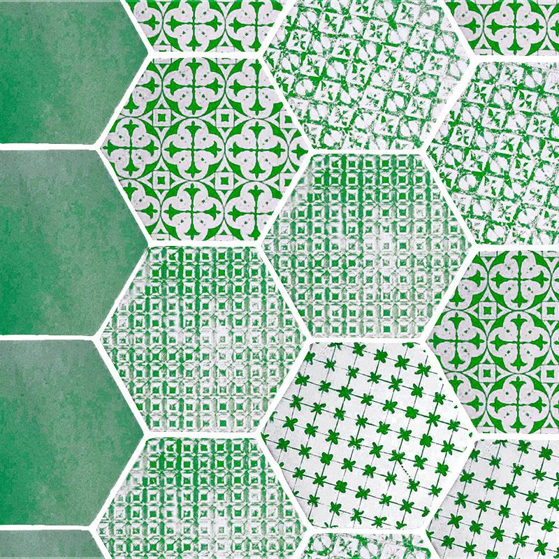 Tomette Hexagonale Decors Verts Delaves Sur Fond Blanc He0811014